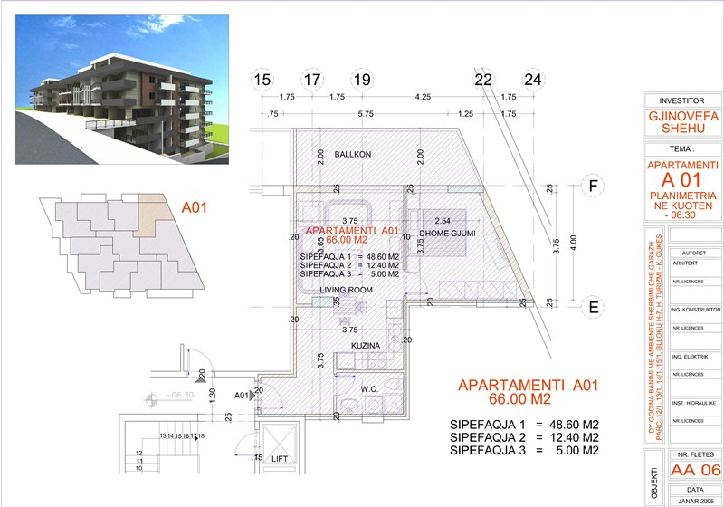Apartment 1+1 For Sale next to the beach in Saranda, Edlira Project, A01, Building 2