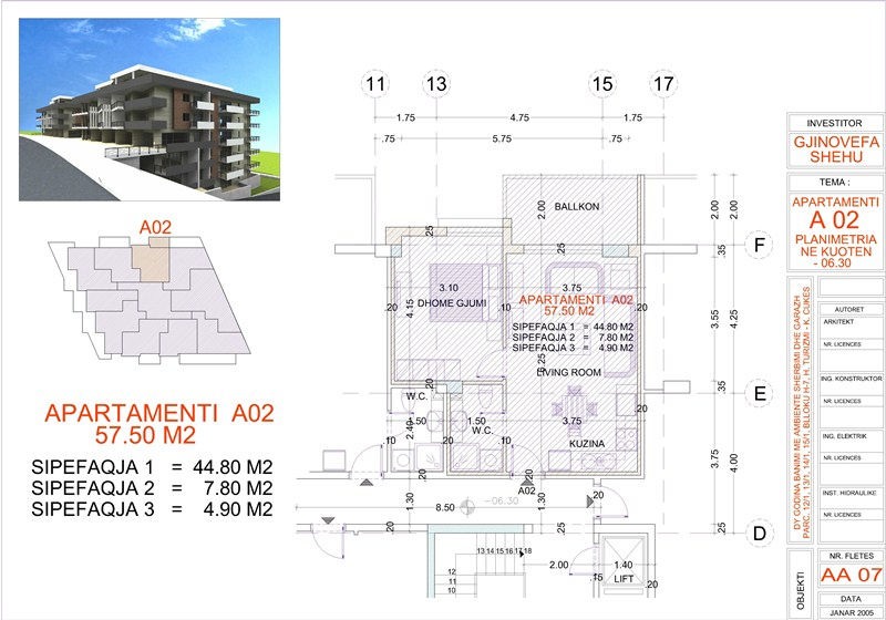 Apartment 1+1 for Sale in Saranda, Edlira Project, A02, Building 2