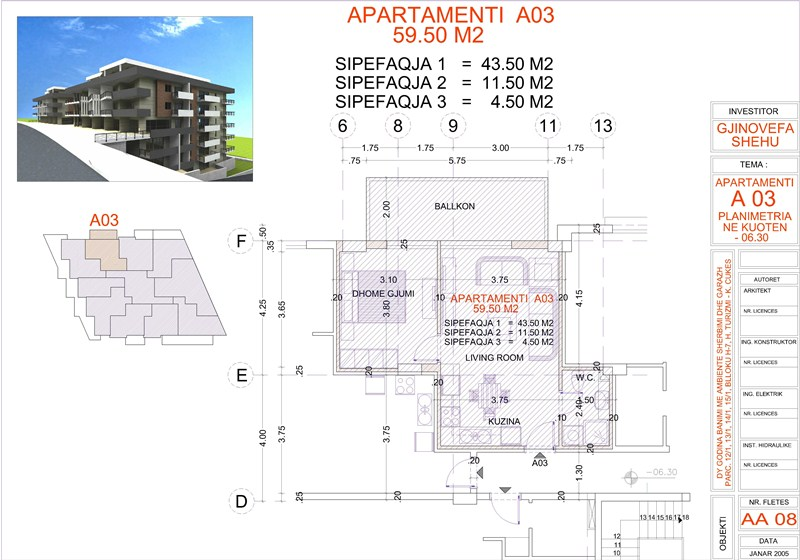 Apartment 1+1 for sale, Edlira Project, A03, Building 2