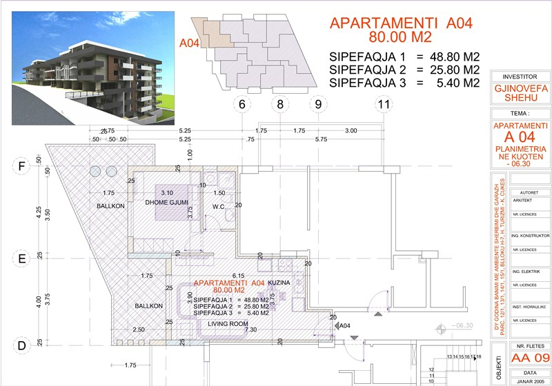 Apartment 1+1 For Sale, Edlira Project, A04, Building 1