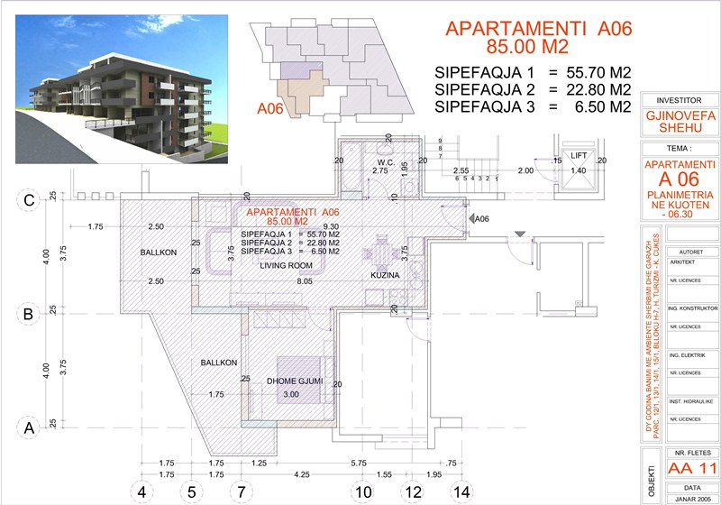 Apartment 1+1 for sale in Sarande Albania, Edlira Project, A06, Building 2
