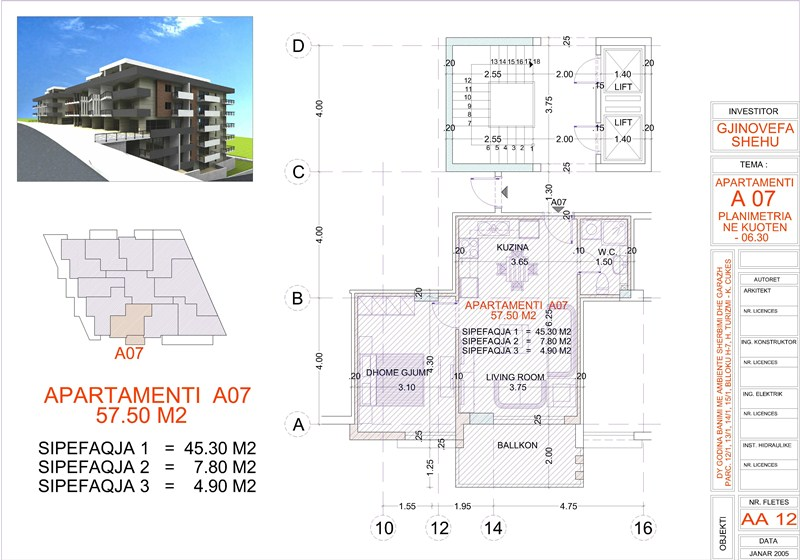 Apartment 1+1 for Sale, Edlira Project, A07, Building 1