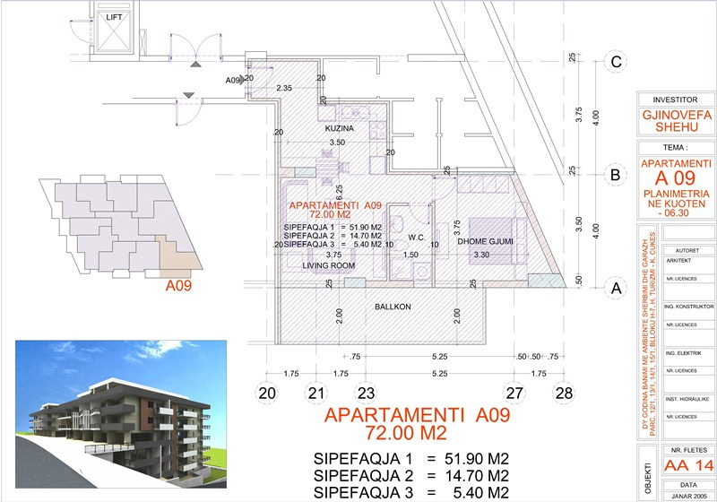 Apartment 1+1 for sale in Saranda, Edlira Project, A09, Building 1