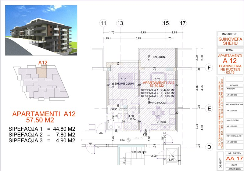 Apartment 1+1 for sale in Saranda, Edlira Project, A12, Building 2