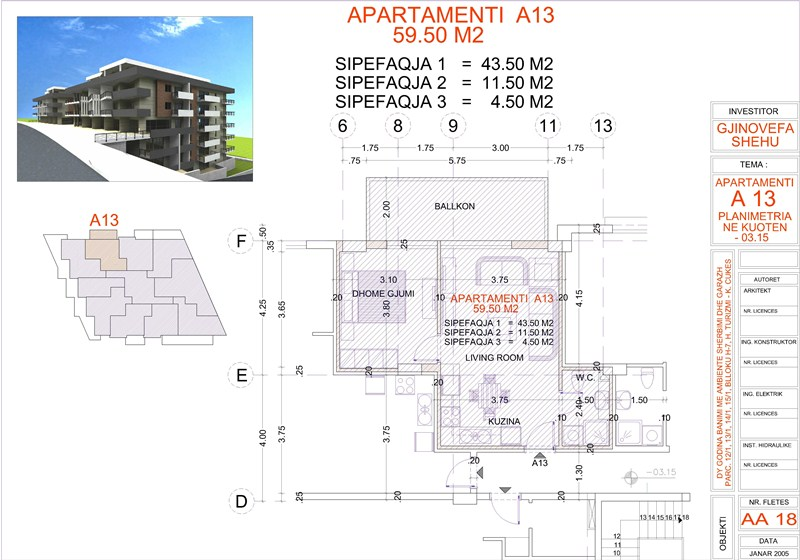 Apartment 1+1 for Sale in Saranda next to the beach, Edlira Project, A13, Building 2