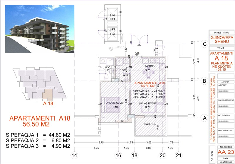 Apartment 1+1 for sale in Saranda, Edlira Project, A18, Building 1