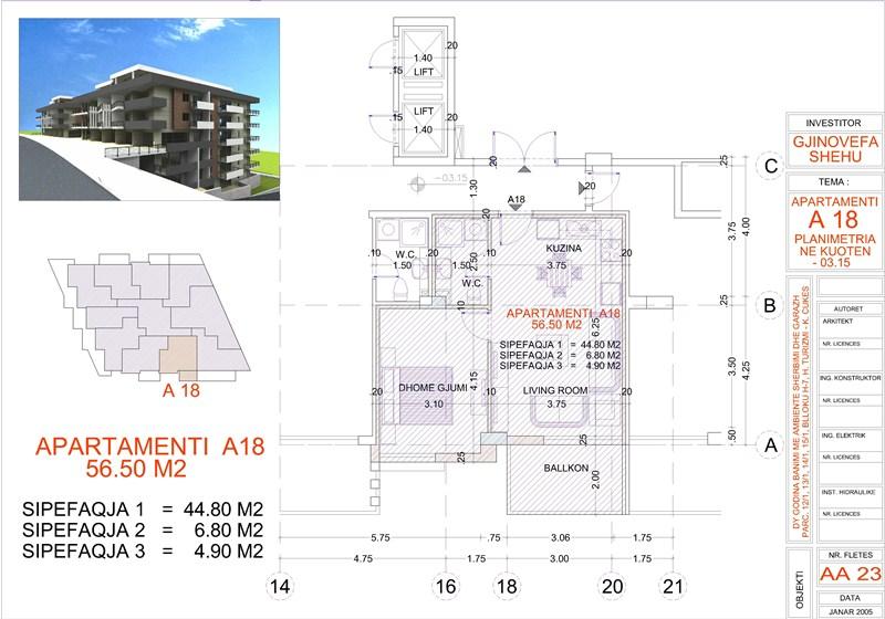 Apartment 1+1 for sale in Saranda, Edlira Project, A18, Building 2