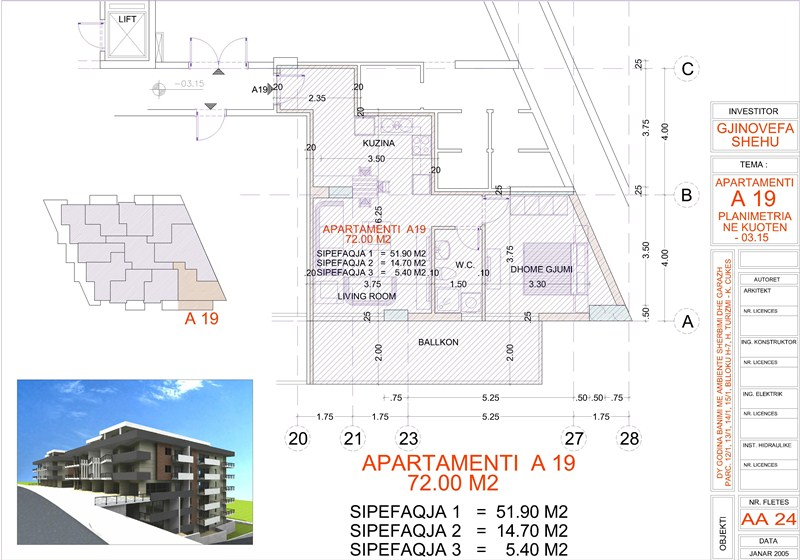 Apartment 1+1 for sale in Saranda, Edlira Project, A19, Building 2