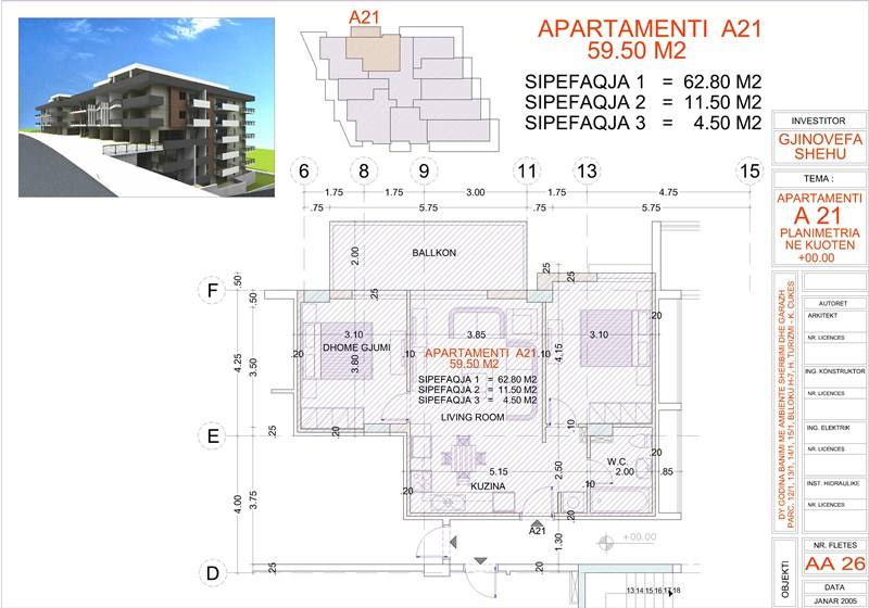 Apartment 2+1 for sale in Saranda Albania, Edlira Project, A21, Building 1
