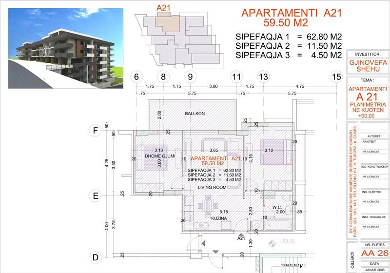 Apartment 2+1 for sale in Saranda Albania, Edlira Project, A21, Building 2