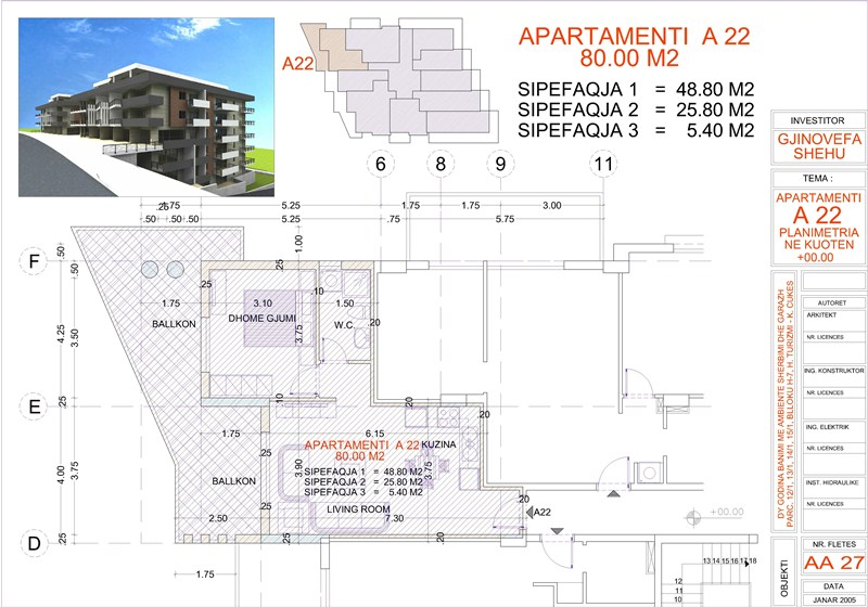 Apartment 1+1 for sale in Saranda, Edlira Project, A22, Building 2
