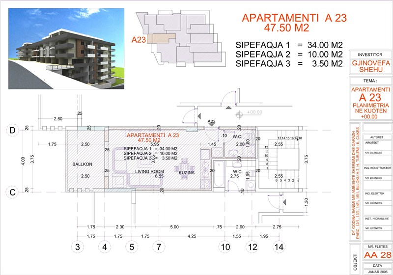 Studio for sale in Saranda, Edlira Project, A23 property, Building 2