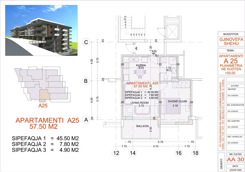 Apartment 1+1 for sale in Saranda, Edlira Project, A25, Building 2