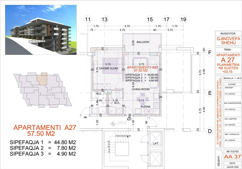 Apartment 1+1 for sale in Saranda, Edlira Project, A27, Building 1