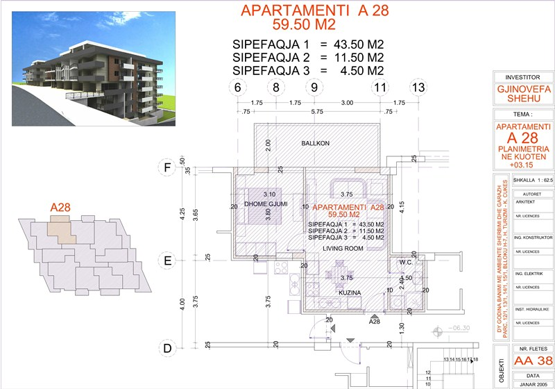 Apartment 1+1 for sale in Saranda, Edlira Project, A28, Building 1