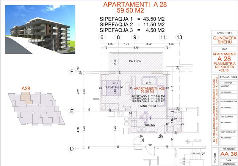 Apartment 1+1 for sale in Saranda, Edlira Project, A28, Building 1
