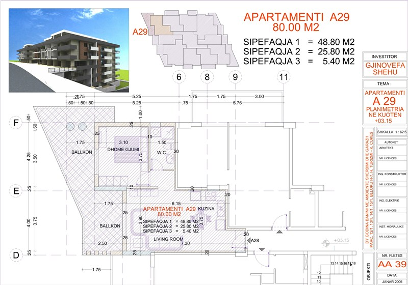 Apartment 1+1 for Sale in Saranda, Edlira Project, A29, Building 1