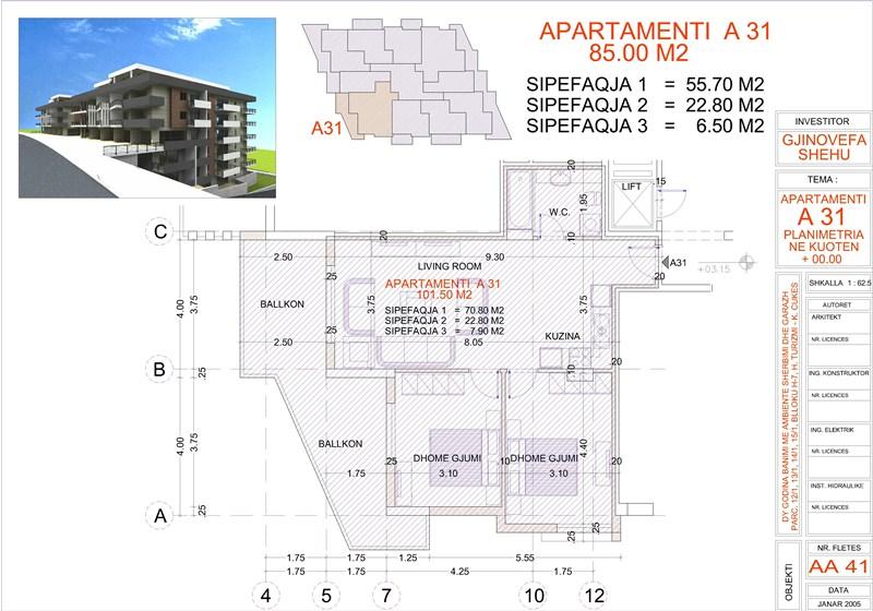 Apartment 2+1 for sale in Saranda, Edlira Project, A31, Building 2