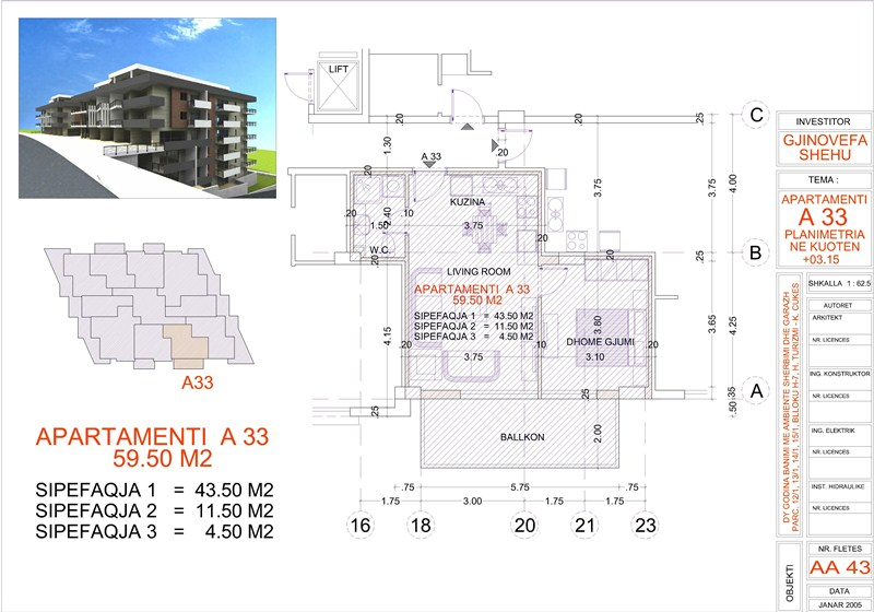 Apartment 1+1 for sale in Saranda, Edlira Project, A33, Building 2
