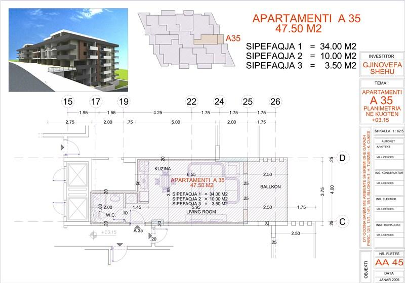 Studio for sale in Saranda, Edlira Project, A35 property, Building 2