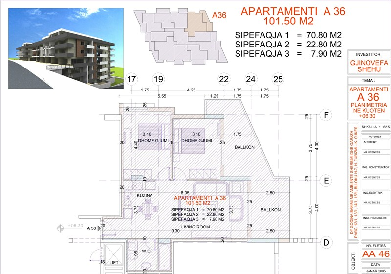 Apartment 2+1 for sale in Saranda, Edlira Project, A36, Building 1