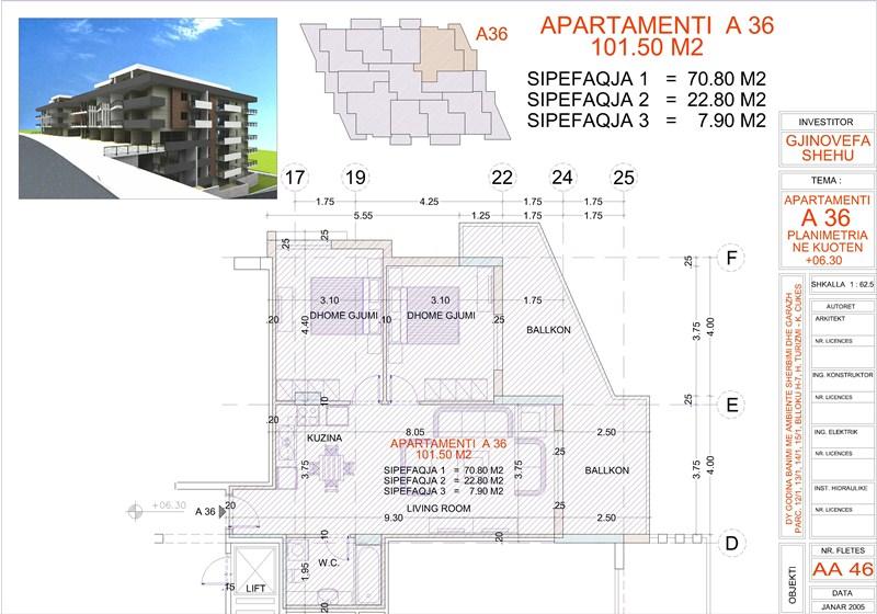 Apartment 2+1 for sale in Saranda, Edlira Project, A36, Building 2
