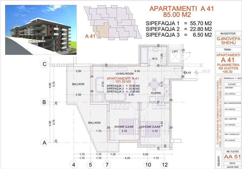 Apartment 2+1 for sale in Saranda, Edlira Project, A41, Building 2