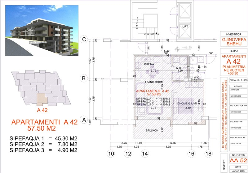 Apartment 1+1 for sale in Saranda, Edlira Project, A42, Building 2