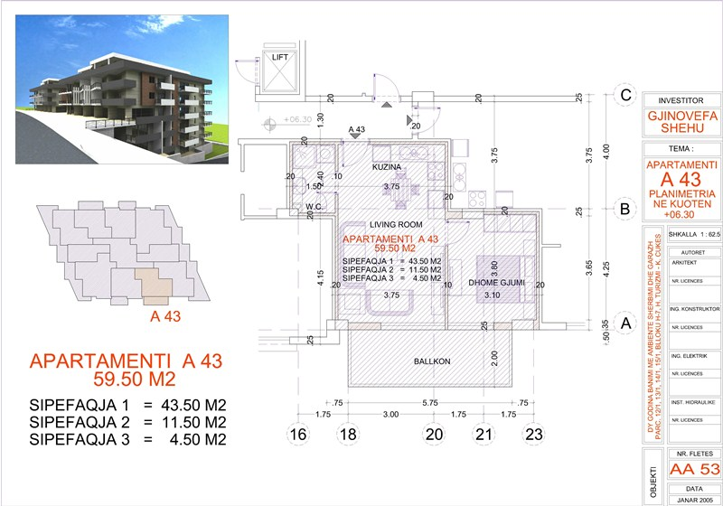 Apartment 1+1 for sale in Saranda, Edlira Project, A43, Building 1
