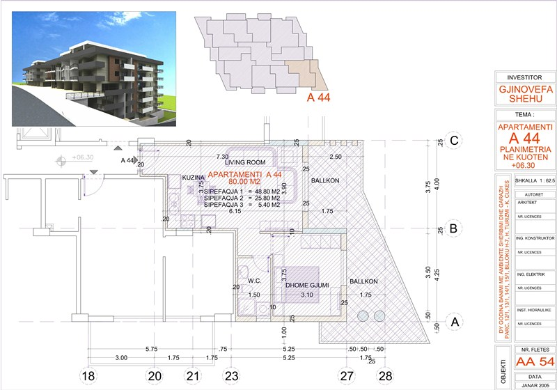 Apartment 2+1 for sale in Saranda, Edlira Project, A44, Building 2