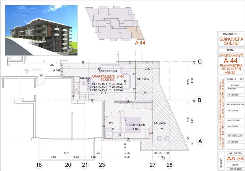 Apartment 2+1 for sale in Saranda, Edlira Project, A44, Building 1
