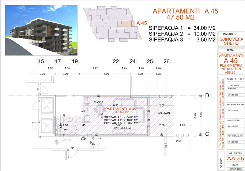 Studio for sale in Saranda, Edlira Project, A45 property, Building 1